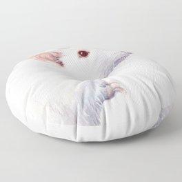 White Rat Watercolor Albino Rat Animal Floor Pillow
