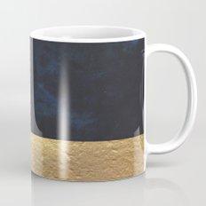 Color Blocked Gold & Cobalt Coffee Mug