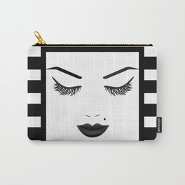 Black Lips Beauty Face Stripes Carry-All Pouch