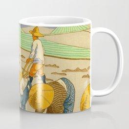 Asano Takeji Rice Transplantation Vintage Japanese Woodblock Print Asian Farmers Sedge Hat Coffee Mug