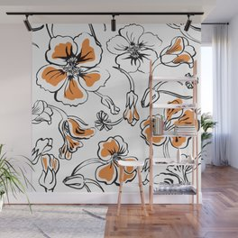 Bold seamless hand drawn floral pattern repeat motif with orange nasturtium flowers, Ink drawing. Wall Mural