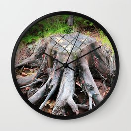 Enchanted Tree Trunk with Roots Wall Clock
