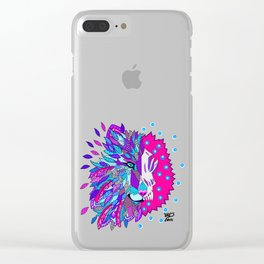 Wolf with Feathers Spirit Animal Pop Art Print Bold Clear iPhone Case
