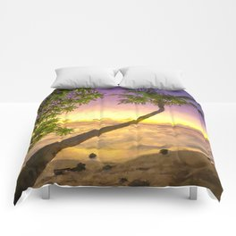 Tropical sunset beach with palms Comforters