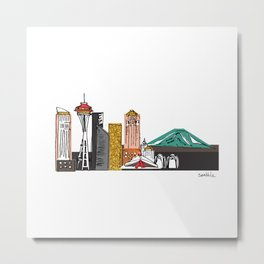 Seattle Skyline Illustration with Gold Highlights Metal Print