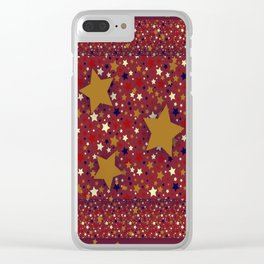 Gold Star Red Clear iPhone Case