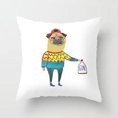 Gin Pug. Pug art, gin art. Throw Pillow