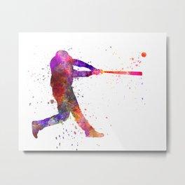 Baseball player hitting a ball 01 Metal Print