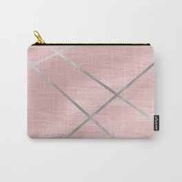 Modern Pink & Silver Line Art Carry-All Pouch