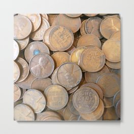 Watercolor Coins, Lincoln Wheat Pennies, 1934 01 Metal Print