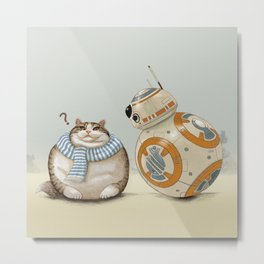 CAT AND DROID Metal Print
