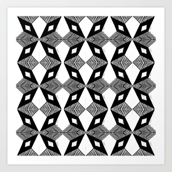 Linocut printmaking pattern black and white scandinavian scandi hipster cute geometric art Art Print