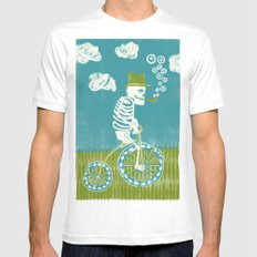Se muere por las bicicletas White Mens Fitted Tee MEDIUM
