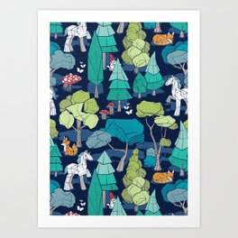 Geometric whimsical wonderland // navy blue background green forest with unicorns foxes gnomes and mushrooms Art Print