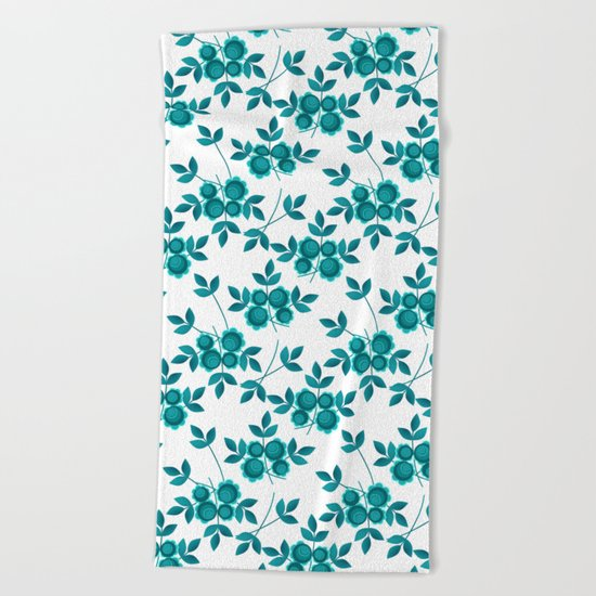 Retro .Turquoise flowers on a white background . Beach Towel