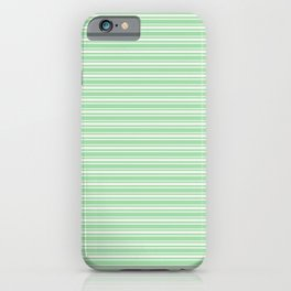 Linen Off White Horizontal Line Pattern 2 on Pastel Green Pairs to 2020 Color of the Year Neo Mint iPhone Case