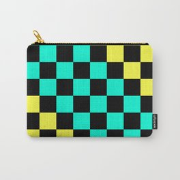 Black, Aqua, & Yellow Checkerboard Pattern Carry-All Pouch