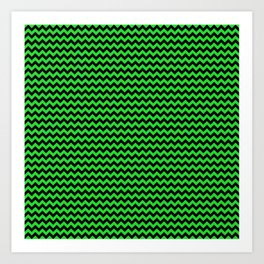 Mini Dark Black and Bright Monster Green Halloween Chevron Stripes Art Print