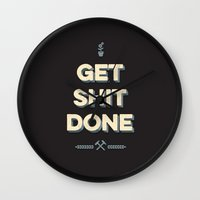 get shit done Wall Clocks featuring Get Shit Done by Alisha Henry