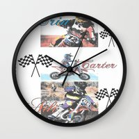 moto Wall Clocks featuring Moto Kids by Connie Campbell