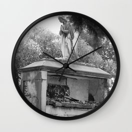 Old broken grave with angel Wall Clock