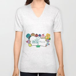 wtf (wut the fluff) logo with friends Unisex V-Neck