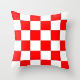 Red & White Checkerboard Throw Pillow