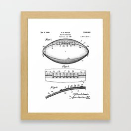 Football Patent - American Football Art - Black And White Framed Art Print