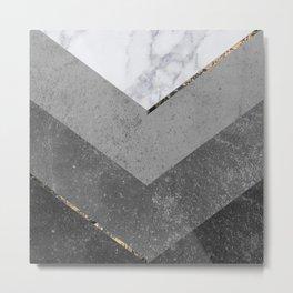 Marble Gray Copper Black Gold Chevron Metal Print