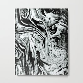 marble black and white minimal suminagashi japanese spilled ink abstract art Metal Print