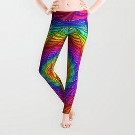 Psychedelic Geometric Rainbow Spiral Leggings