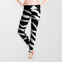 Wavy zig zag lines edgy black and white Leggings