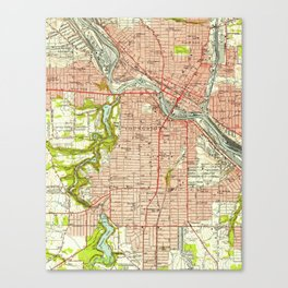 Vintage Map of Youngstown Ohio (1951) Canvas Print