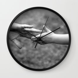 mother daughter hand in hand love together child loving affection mother's day Wall Clock