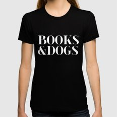 Books&Dogs - Black and White (inverted) LARGE Black Womens Fitted Tee