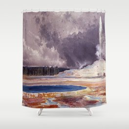 The Castle Geyser, Yellowstone Park landscape painting by Thomas Moran Shower Curtain