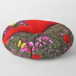 ORANGE ORIENTAL POPPIES & YELLOW BUTTERFLIES Floor Pillow