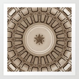 Dome of the Texas State Capitol - Austin - Sepia Art Print