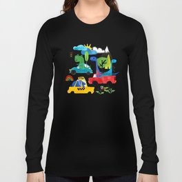 Dinosaur City Watercolor Transportation Pattern Long Sleeve T-shirt