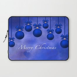 Merry Christmas Ornaments Bows and Ribbons – Blue Laptop Sleeve
