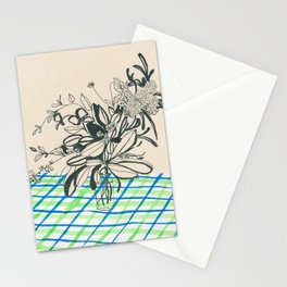 Flowers at the framhouse cafe -line drawing leaves #6 Stationery Cards
