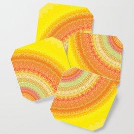 Bright Yellow Orange Mandala Coaster