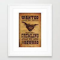 gremlins Framed Art Prints featuring Wanted Gremlins by NicoWriter