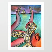 kraken Art Prints featuring Kraken by Indigo22