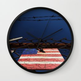 have you got a flag ? usa stars and stripes tile Wall Clock