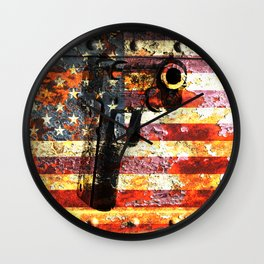 M1911 Colt 45 caliber on American Flag Print Wall Clock