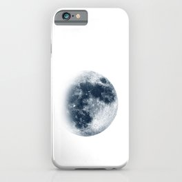 Waxing Gibbous | 3/4 Moon | Classic Blue | Space | Watercolor Painting | Illustration Art Print iPhone Case