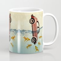 vw Mugs featuring VW beetle and goldfish by Vin Zzep