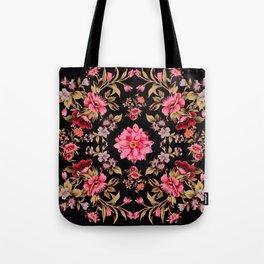 pink folk floral on black background Tote Bag
