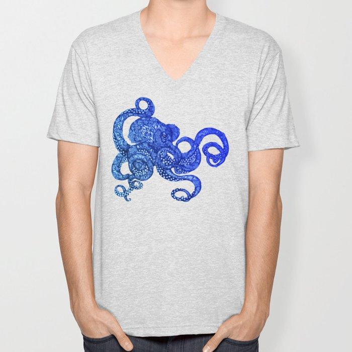 Ombre Octopus Unisex V-Neck